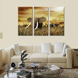 Wholesale african art wall decor - 3pcs set Unframed The African Elephant Prairie HD Print On Canvas Wall Art Painting Art Picture For Home Decor