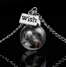 Wholesale Ball Chains For Jewelry - Wish Necklace Real Dandelion Seed Crystal Glass Ball Pendants Silver Chain Necklaces For Women Girl Jewelry