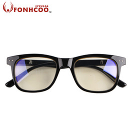 Wholesale Computer Blue Glasses - Wholesale- 2017 FONHCOO Fashion PC frame Anti Blue ray Radiation protection Square shape Anti eye fatigue Computer goggles gaming glasses