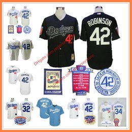Wholesale Jackie Robinson Jersey Black Career highlights and awards Patch Sandy Koufax Fernando Valenzuela Los Angeles Brooklyn Dodgers Cream Grey