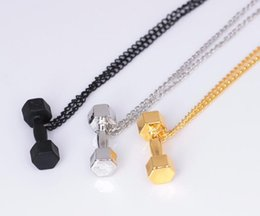 Wholesale Stainless Steel Weights - Stainless Steel Dumbbell Pendant Necklace For Men Women Bodybuilding Gym Weight Crossfit Barbell Necklace Fitness Jewelry AA154