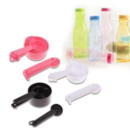 Wholesale Spoons For Measuring Tea - Black  Pink  White Plastic Measuring Cups 10pcs lot Measuring Spoon Kitchen Tools Measuring Set Tools For Baking Coffee Tea