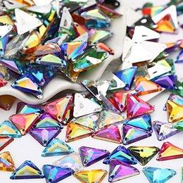 Wholesale Wholesale Rivoli 14mm - 300pcs 14mm costura cristal ab rhinestone applique sew on rivoli contas flatback pedras de cristal strass para roupas vestido de artesanato