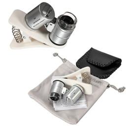Wholesale Mini Telescope Microscope - Universal 60X Optical Zoom Clip Telescope Camera Microscope Lens for Mobile Phone Lens With 3 LED Light Clip Wide Angle Mini Magnifier