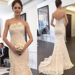 Wholesale Strapless Open Back Wedding Gown - 2017 Elegant Mermaid Wedding Dress Unique Neck Strapless Sleeveless Open Back Zipper up Romantic Lace Bridal Gowns with Sweep Train