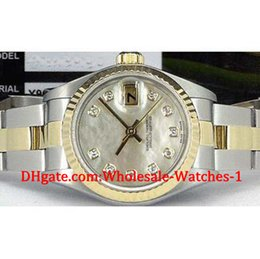Wholesale Mother Pearl Watches - New arrive Luxury watches free gift box Wrist watch Ladies 18kt Gold SS Mother Of Pearl Diamond 79173