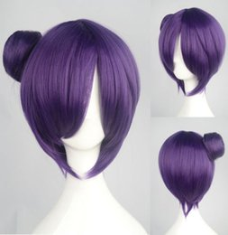 Wholesale Short Dark Purple Cosplay Wig - Free shipping Quality Fashion Picture full lace High wigs>Hot Konan Anime Cosplay Costume Wig Short Straight Dark Purple