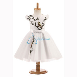 Wholesale Blue Bird Ribbon - 2017 Real Photo Jewel Bow Flower Girls For Wedding Dresses New A-Line Ribbon Bird Tulle Applique Capped Communion Gown For Kids Custom Made