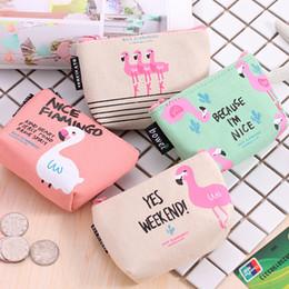 Wholesale Little Girl Purses Wholesale - Flamingo cartoon bag Cute little bird printing Purse baby kids Flamingo printing Purse Key storage bag
