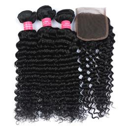 Wholesale Queen Deep Wave - Rainbow Queen Deep Wave with Closure Brazilian Human Hair Weaves 100% Unprocessed Human Hair Extensions 3Bundles Brazilian Human Hair Weave