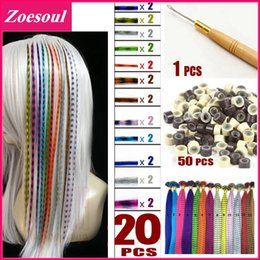 Wholesale Natural Color Feather Grizzly Extension - Wholesale-Grizzly Natural Feather Extension For Hair 20pcs Hair Feather Hair + 50pcs Beads + 1pc Hook Mix Color Extensione De Pelo Plumas