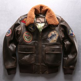 Wholesale Force Leather Jacket - 2018 G1 air force flight bomber jackets with lamb fur collar AVIREXFLY vintage brown sheepskin leather jackets