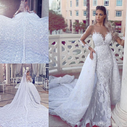 Wholesale dresses removable skirts - 2017 New Overskirt A-line Wedding Dresses Sheer Long Sleeves Lace Appliques Sexy Illusion Back Mermaid Bridal Gowns with Removable Skirt