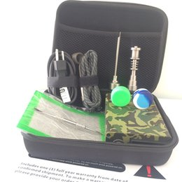 Kit digital enail on-line-Enail eletrizible portátil unha E-unha Dnail kits TC PID caixa dabber digital com Ti titânio quartzo prego para bongo de vidro Camo Wood