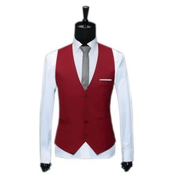 Wholesale Slim Fit Work Suit - Wholesale- M-3XL Red Suit Vest Casual Jackets Sleeveless Men Waistcoat Spring Autumn V-Neck Slim Fit Mens Clothing Work Gilet