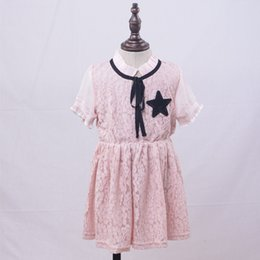 Wholesale Star Baby Dress - 2017 Baby Girl Summer Dress Boat Neck Ruffle Side Bowknot Short Sleeve Lace Print Star Patch Princess Dress Lovely Fashion Style