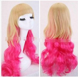 Wholesale Long Curly Blonde Pink Wigs - Free Shipping>>>new vogue Hot Sell!!! Fashion Sexy Long Curly Wavy Rose Pink+Blonde Cosplay Party Costume Wig Wigs-cap
