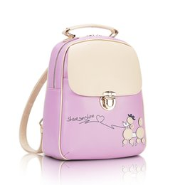 Wholesale School Girl Korea - New fashion trendy cute dogs pattern girls students korea style backpack pu leather school bags 6 colors