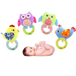 Wholesale Doll Prams - Wholesale- Baby cartoon owl model bed bell toy baby pram stroller bed appease plush doll infant hand rattles mobiles lyj150
