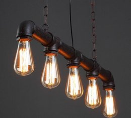 Wholesale Coffee Lamps - Luxury led retro antique coffee bar top pipe lamp Edison e27 droplight with contracted height can be adjusted Restaurant bedroom