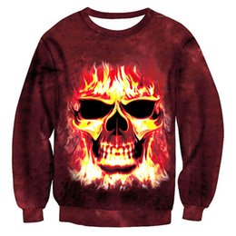 Wholesale Men S Skull Tie - Horrible!Tie Dye Fire Skull 3D Novelty Mens Hoodies Sweatshirts Funny Hoody For Unisex Sweat Skeleton Tide Clothes Plus Size 5XL
