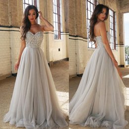 Wholesale Sweetheart Tulle Prom Gown Grey - Grey Long Evening Dresses 2017 Bead Sexy Sweetheart Spaghetti Straps Sleeveless Robe de soriee Red Carpet Gowns Plus Size Prom Dresses SE113