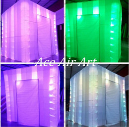 Wholesale Custom Tents - 8ft L* 8ft W *8ft H custom advertising led inflatable Tent Lighting Inflatable photo Booth for Sale