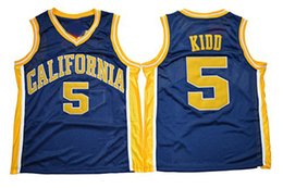 Wholesale California Shirts - 5 Jason Kidd California Golden Bears Jersey Navy Blue Retro College Jason Kidd Basketball Jerseys Throwback Breathable Shirts Mix Order