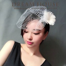 Wholesale Barrette Net - Woman headdress hair European brides, retro feathers, flowers, forehead nets, veils, hair pins, headwear, bridal gowns, accessories, new pro