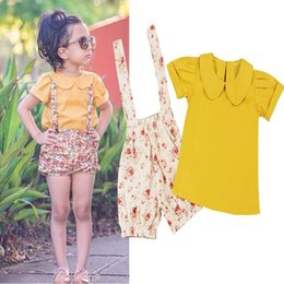 Wholesale Overalls Short Sleeve - Retail Summer Girls Clothing Sets Short Sleeve Mustard Yellow Shirt+Overalls Shorts Floral Kids Outfits Children Clothes E16208