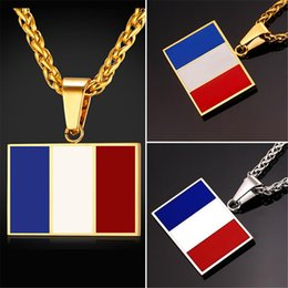 Wholesale necklace french - U7 New Hot Fashion France National Flag Pendant Necklace Jewelry Stainless Steel Gold Plated Patriot French Banner Necklace Women Men GP2444