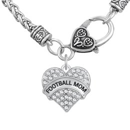 Wholesale Engraved Charms For Jewelry - FOOTBALL MOM Word Engrave Pendant Friendship Necklaces Fitness Thick Heart Necklaces Crystal Heart Lobster Clasp Jewelry Gift for MOM