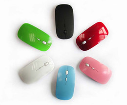 Wholesale wireless mouse usb receiver - 2016 New Arrival Candy color ultra thin wireless mouse and receiver 2.4G USB optical Colorful Special offer computer mouse