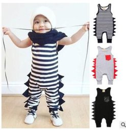 Wholesale Stripe Harem Boys - Baby Romper Boys INS Dinosaur Onesies Kids Stripe Animal Harem Pants Baby Cotton Jumpsuits Infant Causal Climb Clothes Toddler Clothing J421