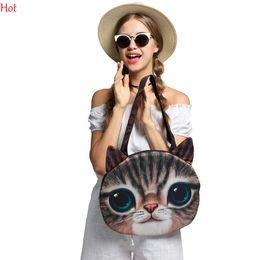Wholesale Cat Head Handbag - Printing Cats Bags Women Handbags Shopping Cute Shell Bag Women 3D Animale Head Messenger Bags New Hot Women Cross-Body Bags Colors SV014807