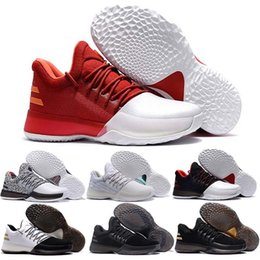 Wholesale Gs Sizes - New Harden Vol. 1 Men Basketball Shoes James Harden Vol. 1 Home BW0547 JH13 Rocket Red White GS Boost Shoes Sneakers Size 40-46