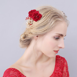Wholesale Red Crystal Comb - beijia Handmade Red Rose Flower Wedding Prom Hair Comb Crystal Bridal Accessories Women Hair Jewelry