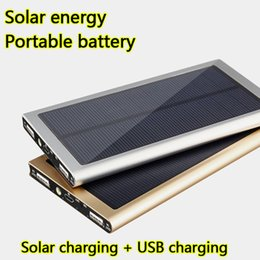 Wholesale Battery Charging Power Supply - Outdoors Ultra thin Solar Charging Portable Battery 20000mah Universal mobile Power Bank Supply Fast Dual USB charger for All Smart phones