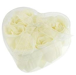 Wholesale Heart Soap Petals - Wholesale- Bathing Shower Off ball sponge White 6 Pcs Rose Flowers Bath Soap Petals w Heart Shaped Box