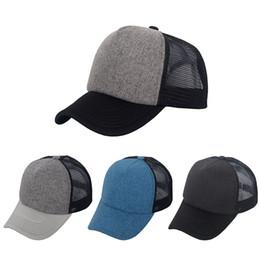 Wholesale Hat Custom Man - Hot Style Retro Classic Plain Polyester Front Trucker Mesh Hats Blank Baseball Cap Men Women Spring Summer Autumn Custom Logo Made 4 Colors
