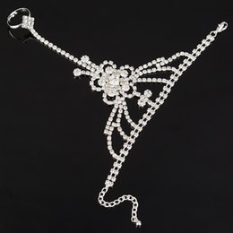 Wholesale Charms Lobster Ring - New Arrival Rhinestone Crystal Chain Bracelet Wedding Bridal Jewelry Womens Rhinestone Bracelets with Finger Ring Slave Chain Wholesale