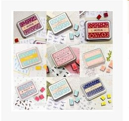 Wholesale Vintage Wooden Stamp Set - Wholesale- (9 Styles Can Choose) DIY Scrapbooking Vintage Fairy Stamps Set Wooden Stamp Iron Box Rubber Ink Pad Stamp