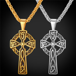 Wholesale 18K Gold Plated Stainless Steel Celtic Christian Jewelry Triquetra Viking Triple Horn Of Odin Celtic Cross Necklaces Pendant