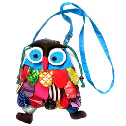 Wholesale Cross Stitch Cotton Fabric - Kids designe bag Owl Children backpacks Handmade Preschool Baby bag Colorful Stitch Preschool baby Owl Backpack L0815