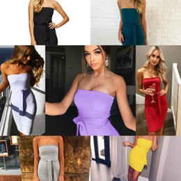 Wholesale Dress Skinny Women - 2017 Sexy Sheath Bodycon Mini Short Cocktail Club Dresses Skinny Hot Summer Women Sleeveless Party Wears with Sash Casual Dress FS1972