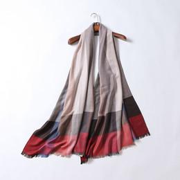 Wholesale Red Plaid Scarf Women - Wholesale-Autumn 2016 western famous fashion brand women scarf plaid lady silk cashmere scarves luxury designer classical shawl scarves