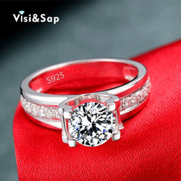 Wholesale Wholesale White Gold Ring Settings - Visisap popular Hollow Wedding Rings engagement white gold color wholesale jewelry for women shinecubic zirconia VSR066