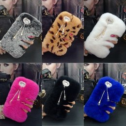 Wholesale Iphone Winter Cover - Hot Luxury Real Rabbit Fur Furry Warm Winter Bling Soft Back Phone Case Cover For iphone X 8 8 Plus 7 7 Plus For Samsung galaxy S7 S8 For LG