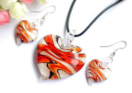 Wholesale Lampwork Glass Pendants Wholesale China - With boxes Heart murano lampwork glass pendant necklaces chandelier earrings jewelry set For women DIY fashion jewelery sets