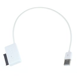 Wholesale Notebook Computer Dvd - Wholesale- White high quality USB 2.0 to 7+6 13Pin Slim line SATA DVD CD Rom Optical Drive Cable for Laptop computer notebook